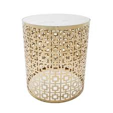 cocktail round marble side table with brass interior secrets