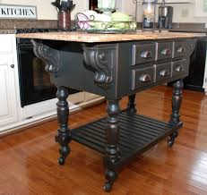 Distressed Black Kitchen Island by Remodelaholic From Oak Kitchen Cabinets To Painted White Cabinets