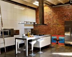 amazing modern industrial kitchen design with brick accent wall