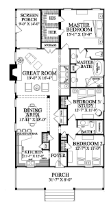 narrow lot roomy feel hwbdo75757 tidewater house plan from floor plan 3 beds 2 baths 1 story 1643 sq ft can add garage nice 2 walk in closets for master along with a screen porch and large front porch