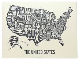 United States Map by United States Typographic Map Original Artwork By Ork Posters