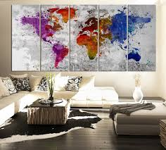 World Map Canvas by Splatter World Map Canvas Print Watercolor Large 5 Panel