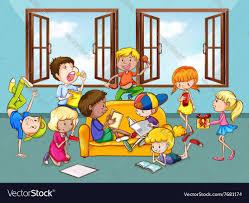 Kids Living Room Children Doing Activities In The Living Room Vector Image