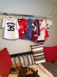 a cool way to display my son u0027s jerseys using his opa u0027s old hockey