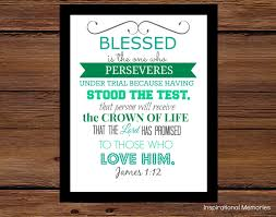 Bible Verses For The Home Decor Framed Bible Verse Print James 1 12 Blessed Is The One
