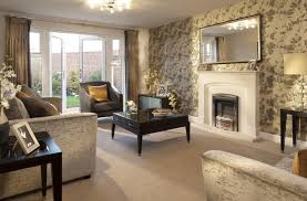 Interior Designed Living Room Using A Neutral Colour Scheme Of - Wallpaper living room ideas for decorating