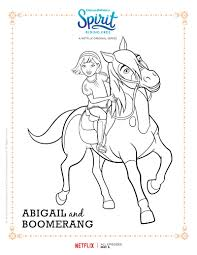 spirit riding free abigail and boomerang coloring page printable
