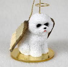 bichon frise dog figurine ornament angel statue hand painted