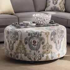 round contemporary ottoman with casters by craftmaster wolf and