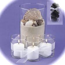 Purple Floating Candles For Centerpieces by Of 4 Sand And Seashells Glass Cylinder Vase With Floating Candle