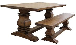 solid wood double pedestal large rectangular dining table trestle