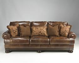 Ashley Furniture Couches Ashley 2110038 Hutcherson Harness Leather Durablend Upholstered Sofa