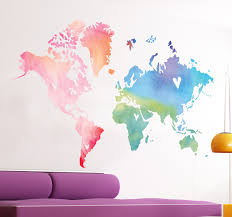 a splendid design of a world map with a touch of originality this this world map sticker is perfect to decorate your bedroom the watercolour effect is useful to bring some colour into your room and create