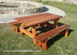 Free Wooden Picnic Table Plans by Lovely Wood Picnic Table With Detached Benches 20 Free Picnic