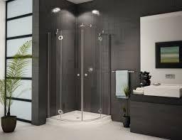 glass shower enclosure and dark tile design ideas www bathroom