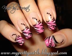 my pretty nailz abstract pink french tip nail art design fierce