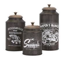 Country Canister Sets For Kitchen Amazon Com Imax 73383 3 Darby Metal Canisters Set Of Three