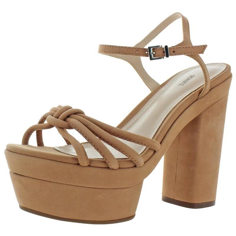 Schutz Faubina Leather Ankle Strap Platform Heels Tan 8 Medium (B,M)