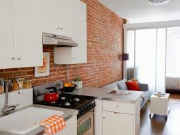 Fake Exposed Brick Wall Kitchen Exposed Brick Wall White Shelves Interior Designs Aprar
