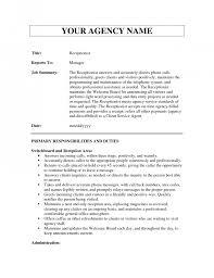 Resume Job Duties Examples Receptionist Job Description Receptionist Job Description