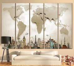 World Map Canvas by Large World Map 702 Canvas Print Zellart Canvas Arts Living
