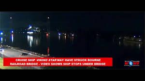 cruise ship scrapes under bourne railroad bridge caught on video