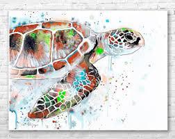 Sea Turtle Home Decor Sea Turtle Watercolor Painting Print By Slaveika Aladjova
