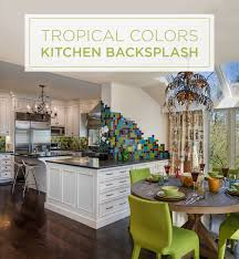tropical colors in a kitchen backsplash handmade ceramic tile