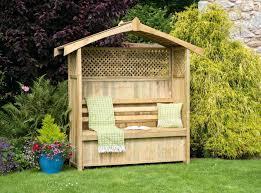 garden arbor bench idea with partial lattice and storage boxcorner