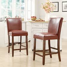 Counter Height Kitchen Islands Furniture Brown Leather Counter Height Bar Stools Wood Legs And