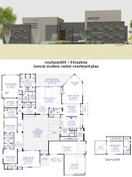 u shaped modern house plans with courtyard and pool small lrg 11