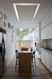 best images about kitchen pinterest home and modern rectangular home with airy interior design chic and simple appearance narrowed dining table set placed one side kitchen center