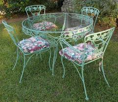 Black Wrought Iron Patio Furniture Sets by Vintage Wrought Iron Patio Set Dogwood Blossoms U0026 Branches Sage
