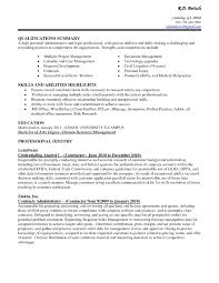 Qualifications Summary Resume Example by Example Qualifications Summary Administrative With Strenghts And
