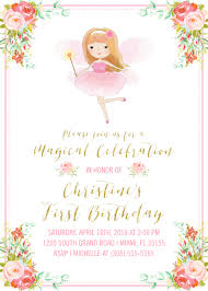 1st birthday princess invitation fairy birthday invitation fairy princess invitation pink and