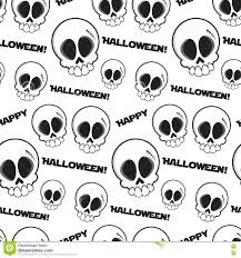 halloween vector art black and white seamless skulls pattern with text happy halloween