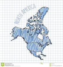 N America Map by Blue Pen Hand Drawn North America Map Vector On Stock Vector