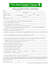 buyer lead sheet and scripts to convert appointments