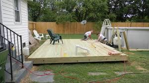 ground level small rectangular deck ground level deck and pump