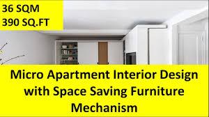 micro apartment interior design with space saving furniture