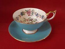 aynsley fine english bone china blue floral gold trim tea cup