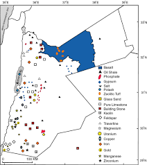 Jordan Country Map Geologic And Economic Potentials Of Minerals And Industrial Rocks