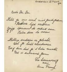 A Rare Anne Frank Poem Will be Auctioned Off   Bookstr  Image courtesy of The Jewish Press