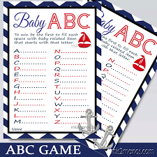 nautical chevron abc baby shower game printable card in red and