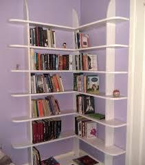 furniture exciting white corner bookshelf for unique interior