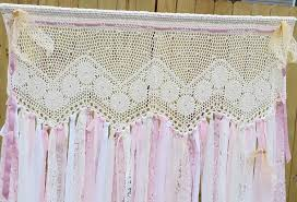shabby chic window door curtain vintage crochet panel country