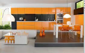 Italian Kitchen Design Orange White Italian Modern Kitchen Design With Stylish Dining Set