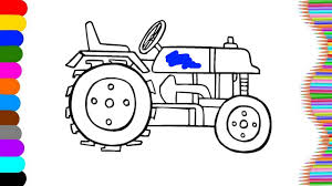 tractor coloring page name and sound art of colour for kids