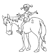 pippi on the horse coloring pages for kids printable free pippi