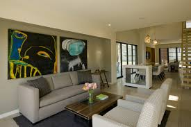 open living room idea with artistic painting on the wall wall